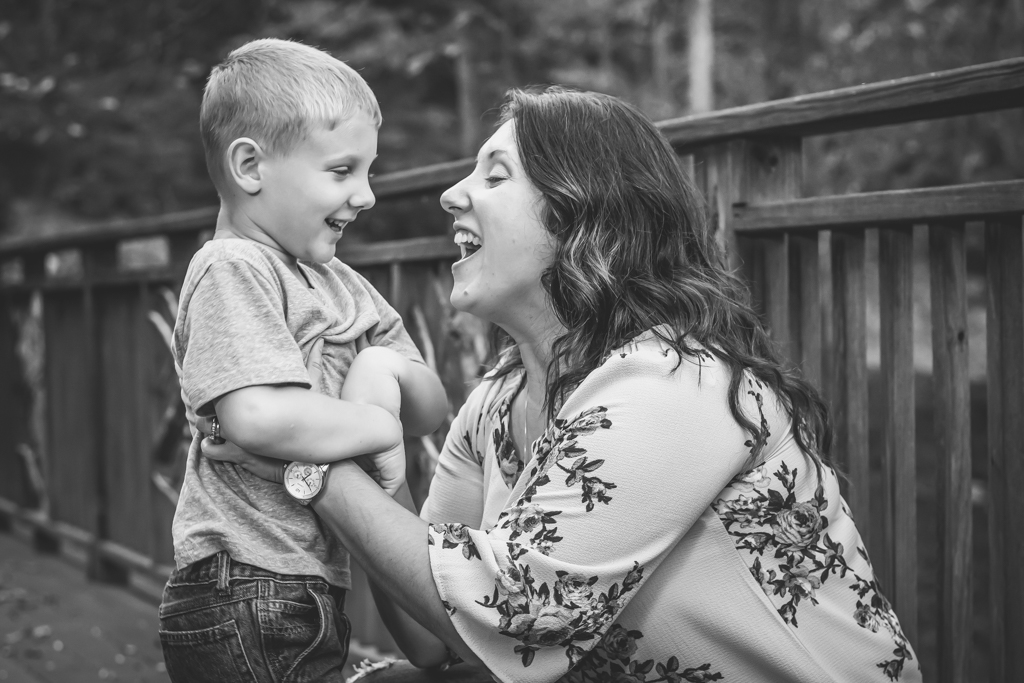 Mother & Son Laughing with One Another