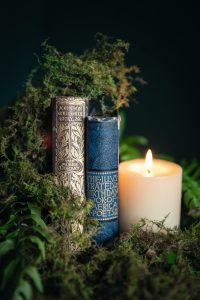 Ferns Moss Books Candle